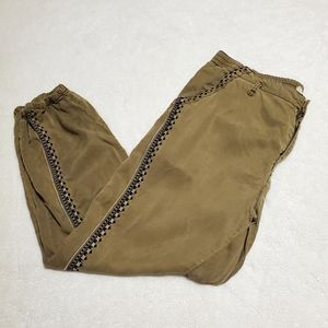 Anthropologie Olive Khaki Embroidered Joggers